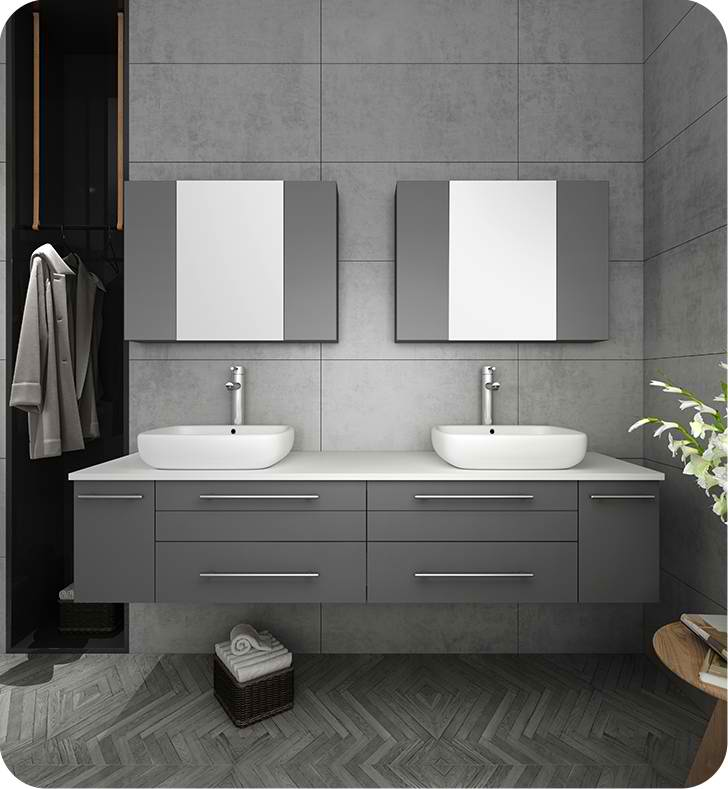 """72"""" Gray Wall Hung Double Vessel Sink Modern Bathroom Vanity with Medicine Cabinets"""