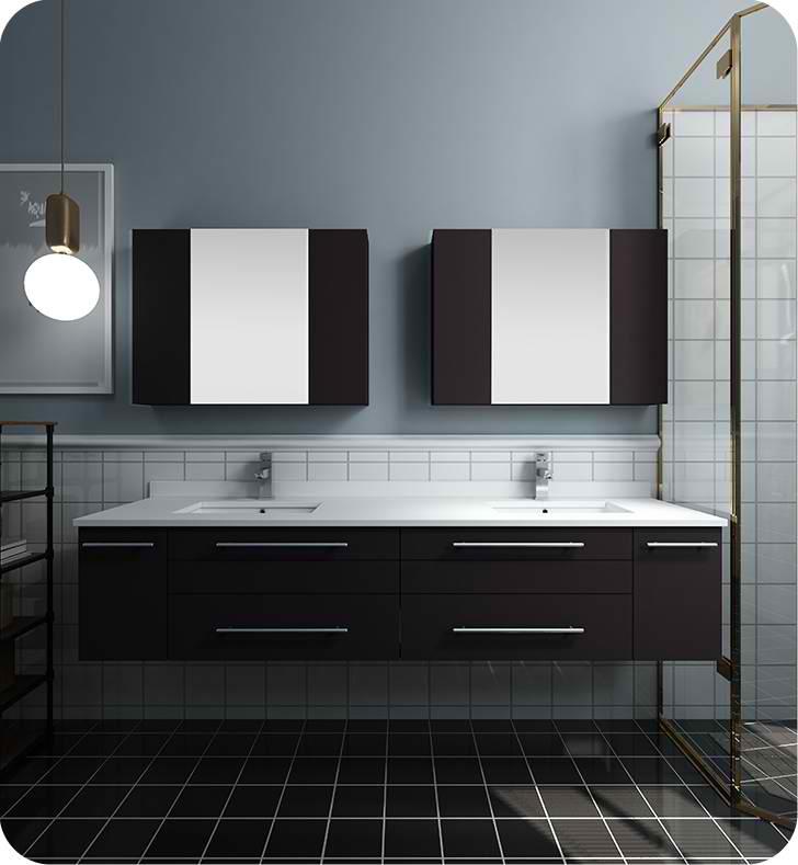 "72"" Espresso Wall Hung Double Undermount Sink Modern Bathroom Vanity with Medicine Cabinets"