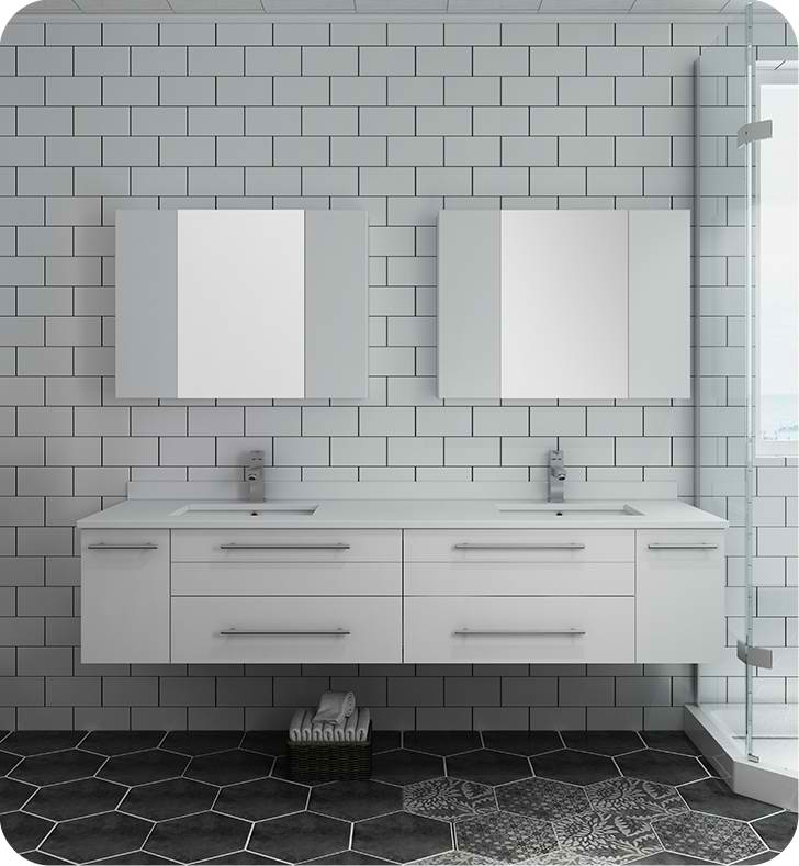 """72"""" White Wall Hung Double Undermount Sink Modern Bathroom Vanity with Medicine Cabinets"""
