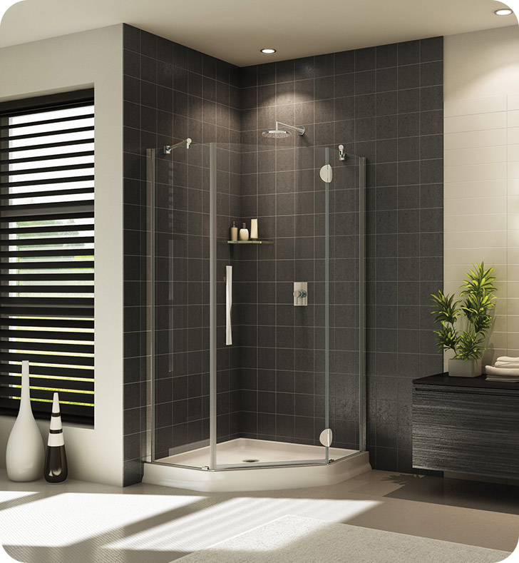 Fleurco Platinum Neo Angle Single Shower Door with Glass to Glass Hinges and Support Bar System