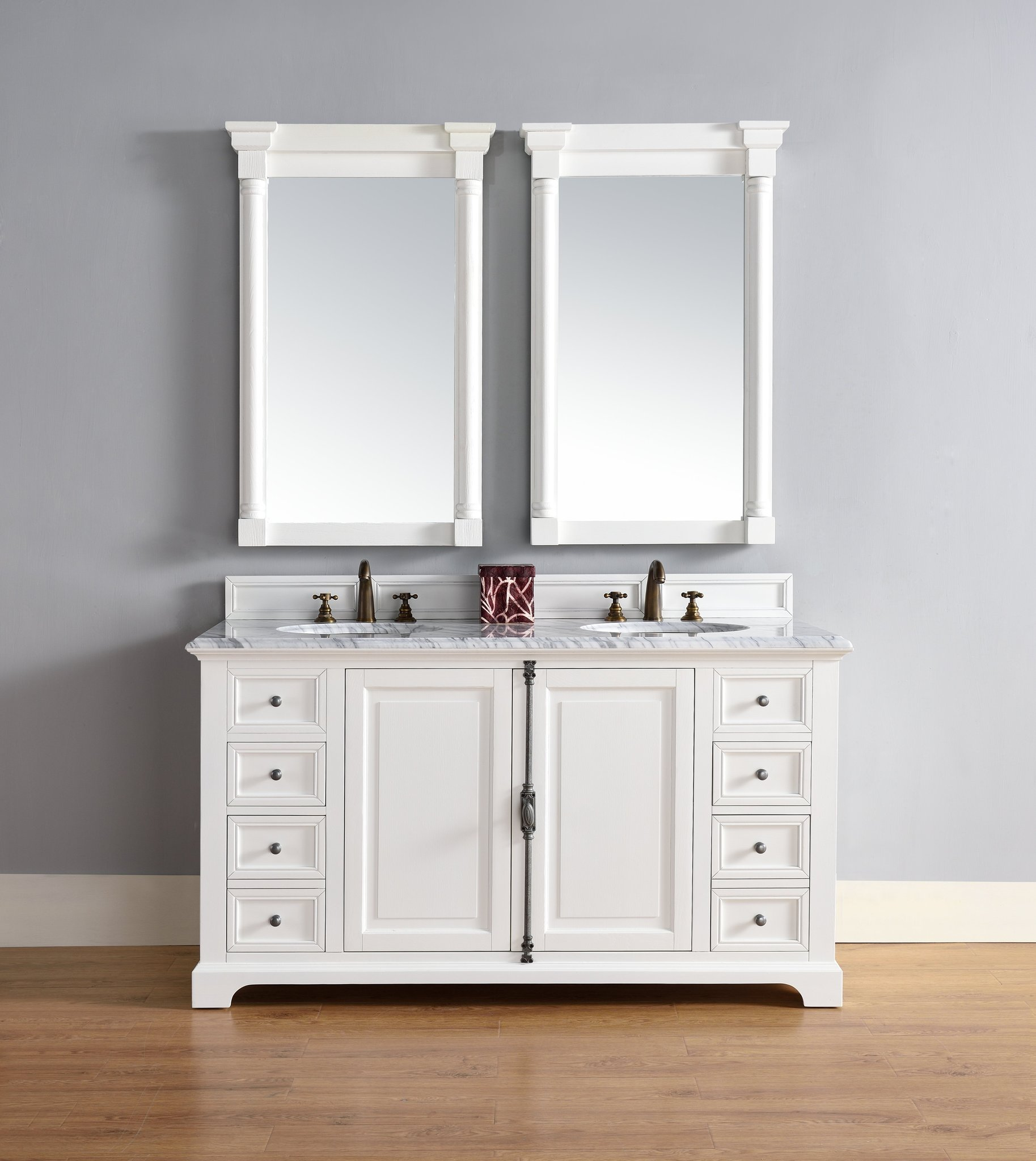 """James Martin Providence Collection 60"""" Doulbe Vanity Cabinet, Cottage White"""