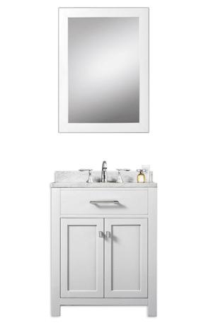 Daston White 24 Inch Single Sink Bathroom Vanity Marble Countertop
