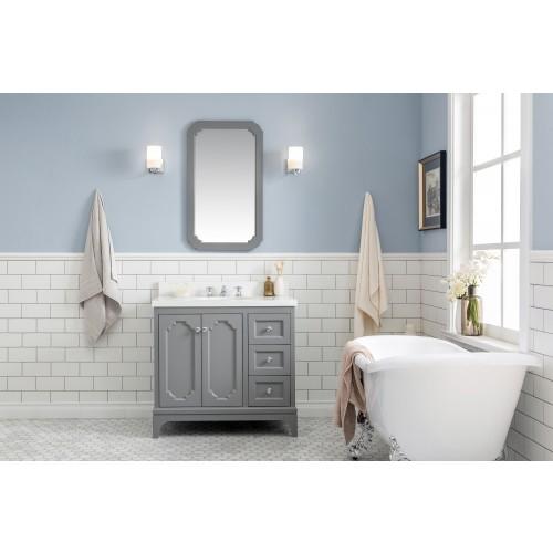 "36"" Wide Cashmere Grey Single Sink Quartz Carrara Bathroom Vanity"