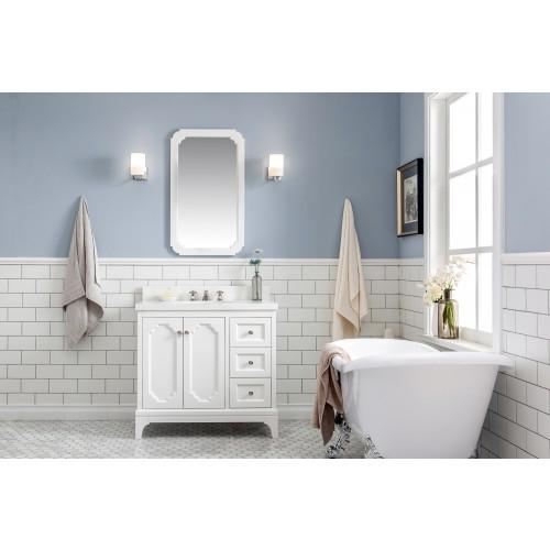 "36"" Wide Pure White Single Sink Quartz Carrara Bathroom Vanity"