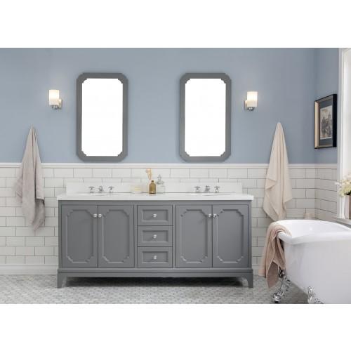 "72"" Wide Cashmere Grey Double Sink Quartz Carrara Bathroom Vanity"