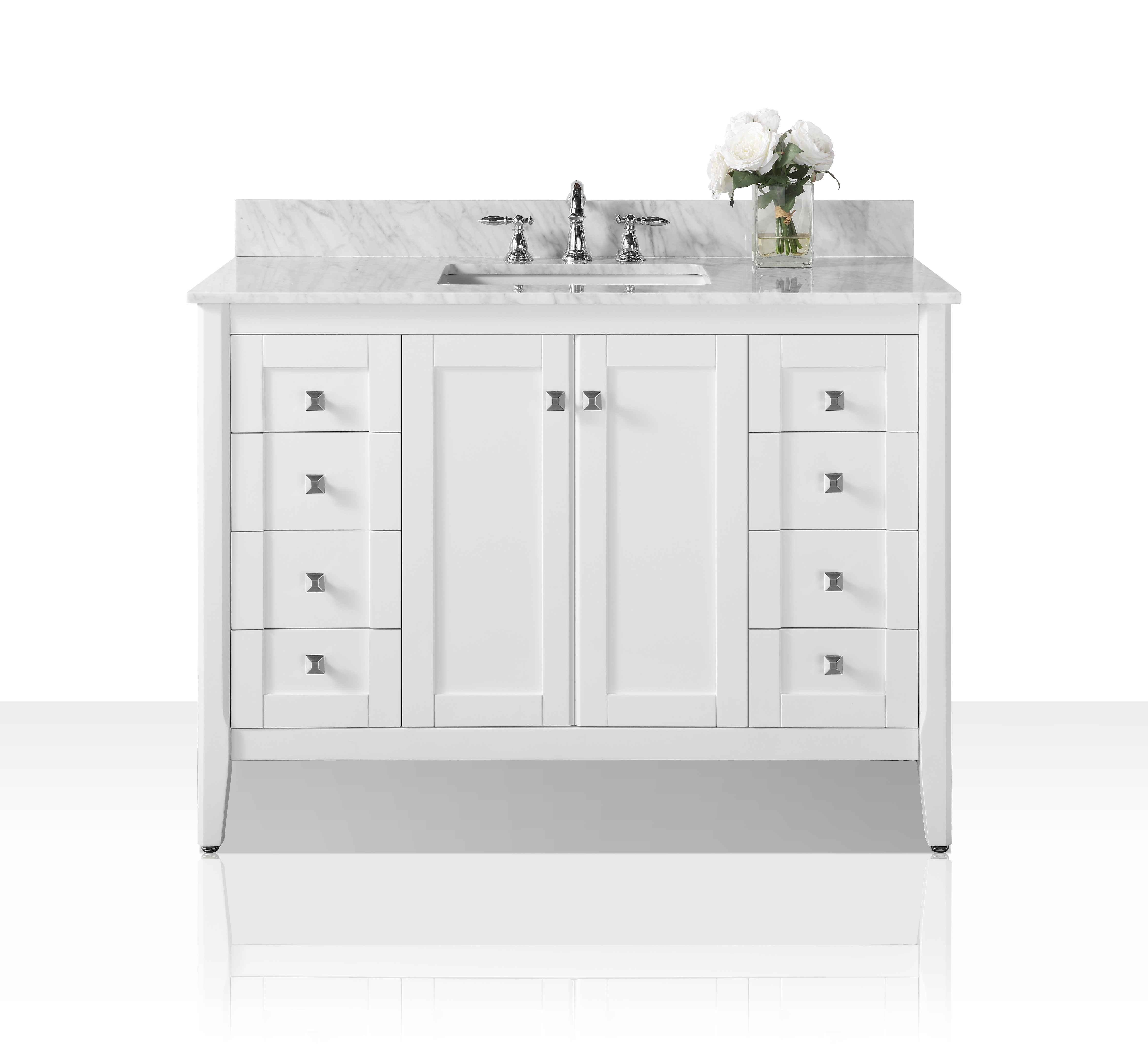 """48"""" Bath Vanity Set in White Finish with Natural Marble Vanity Top in Italian Carrara and White Undermount Basin"""