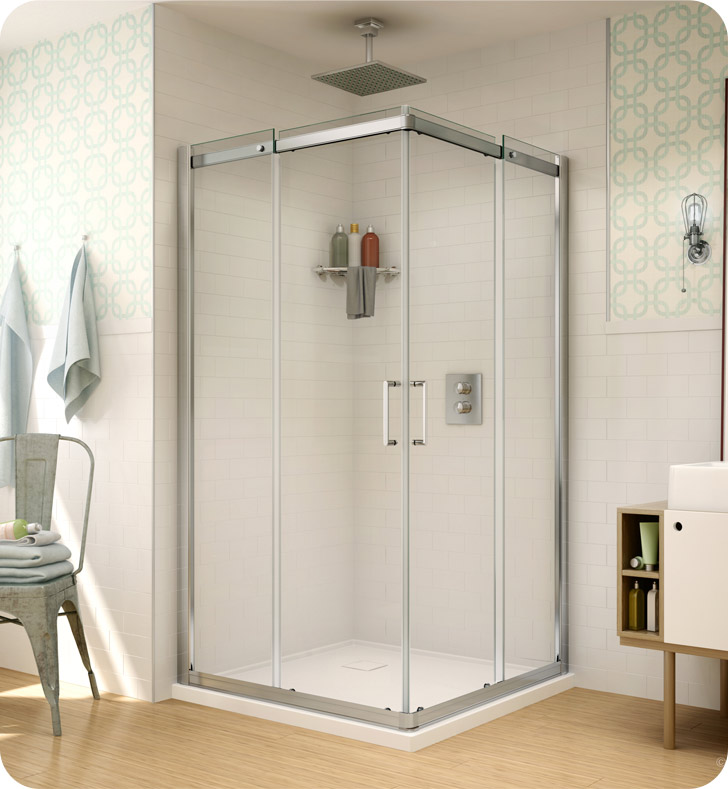 Fleurco Banyo Shuttle Square 42 Semi Frameless Corner Entry Sliding Doors