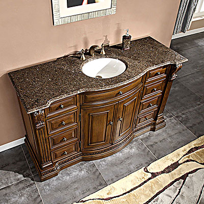 Accord 60 inch Charleston Antique Bathroom Vanity Chestnut Finish