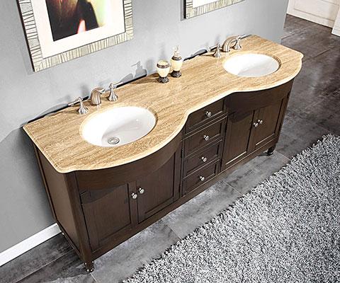 Accord 72 inch Traditional Bathroom Vanity Dark Walnut Finish
