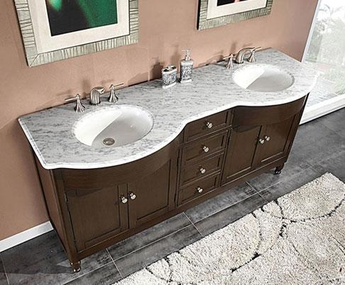 Accord 72 inch Traditional Bathroom Vanity Walnut Finish