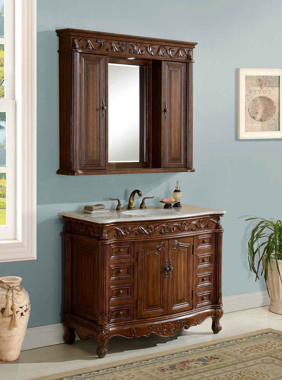"42"" Deep Chestnut Finish with Matching Medicine Cabinet, with Marble Top Option"