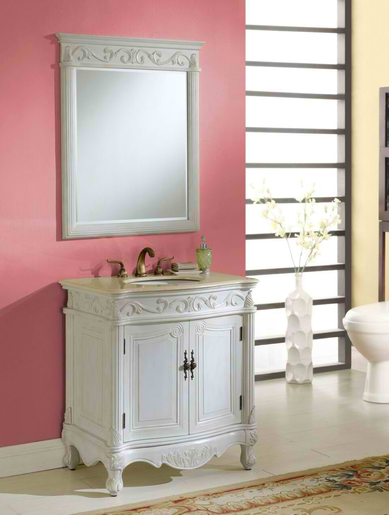 """32"""" Antique White with Matching Mirror"""