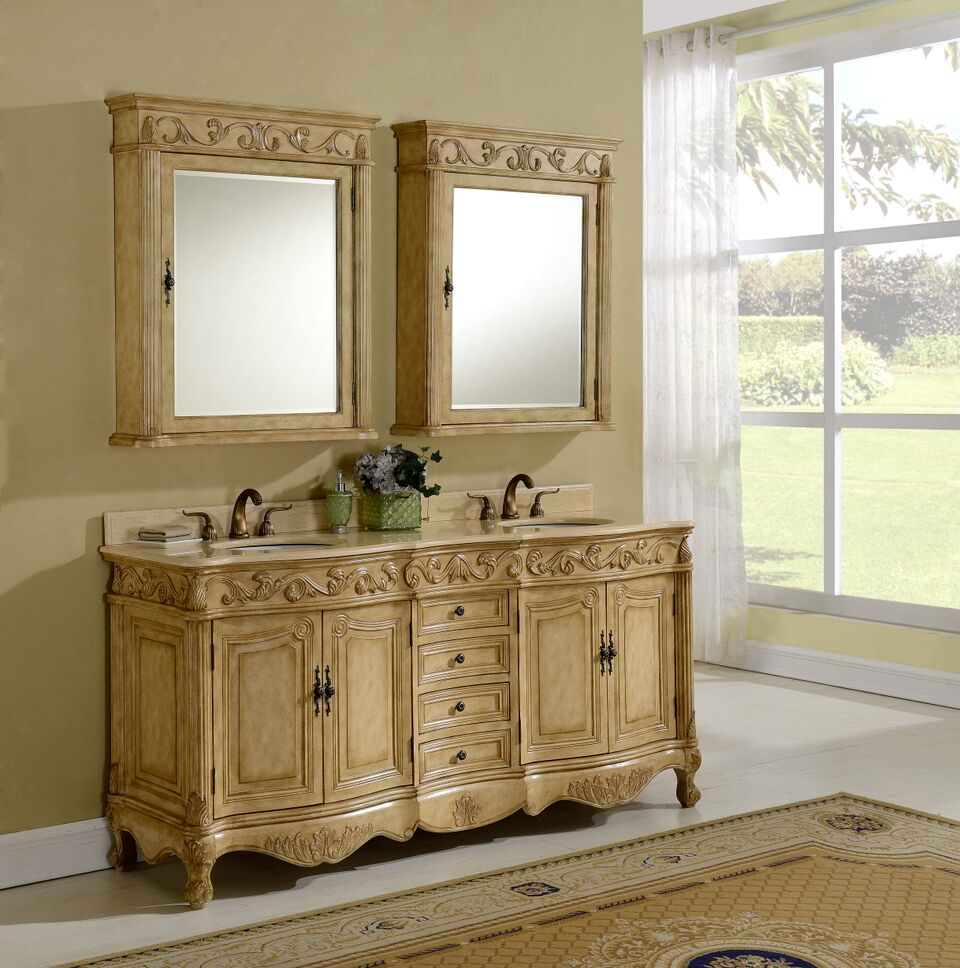 """72"""" Antique Tan Finsih Vanity with Mirror, Med Cab, and Linen Cabinet Options"""