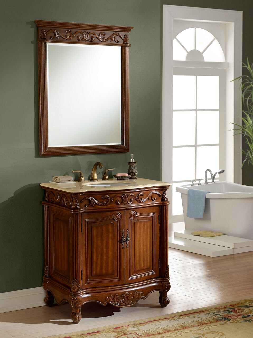 """32"""" Deep Chestnut Finish with Matching Mirror"""