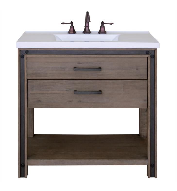 "Issac Edward Collections 37"" Free Standing Single Bathroom Vanity in Rustic Cocoa"