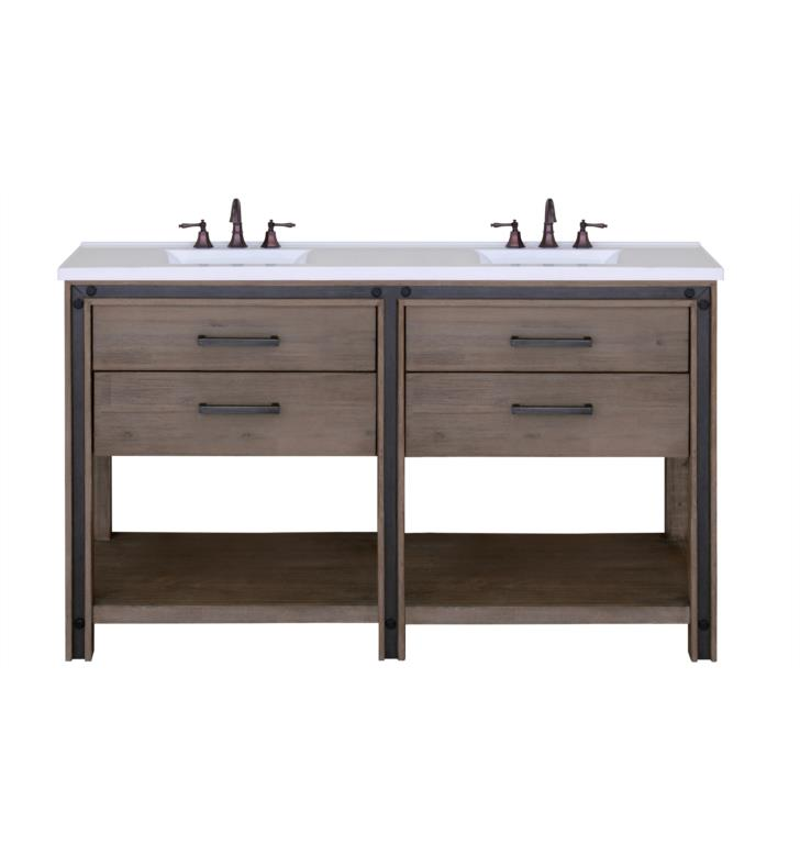 "Issac Edward Collections 60"" Free Standing Double Bathroom Vanity in Rustic Cocoa"