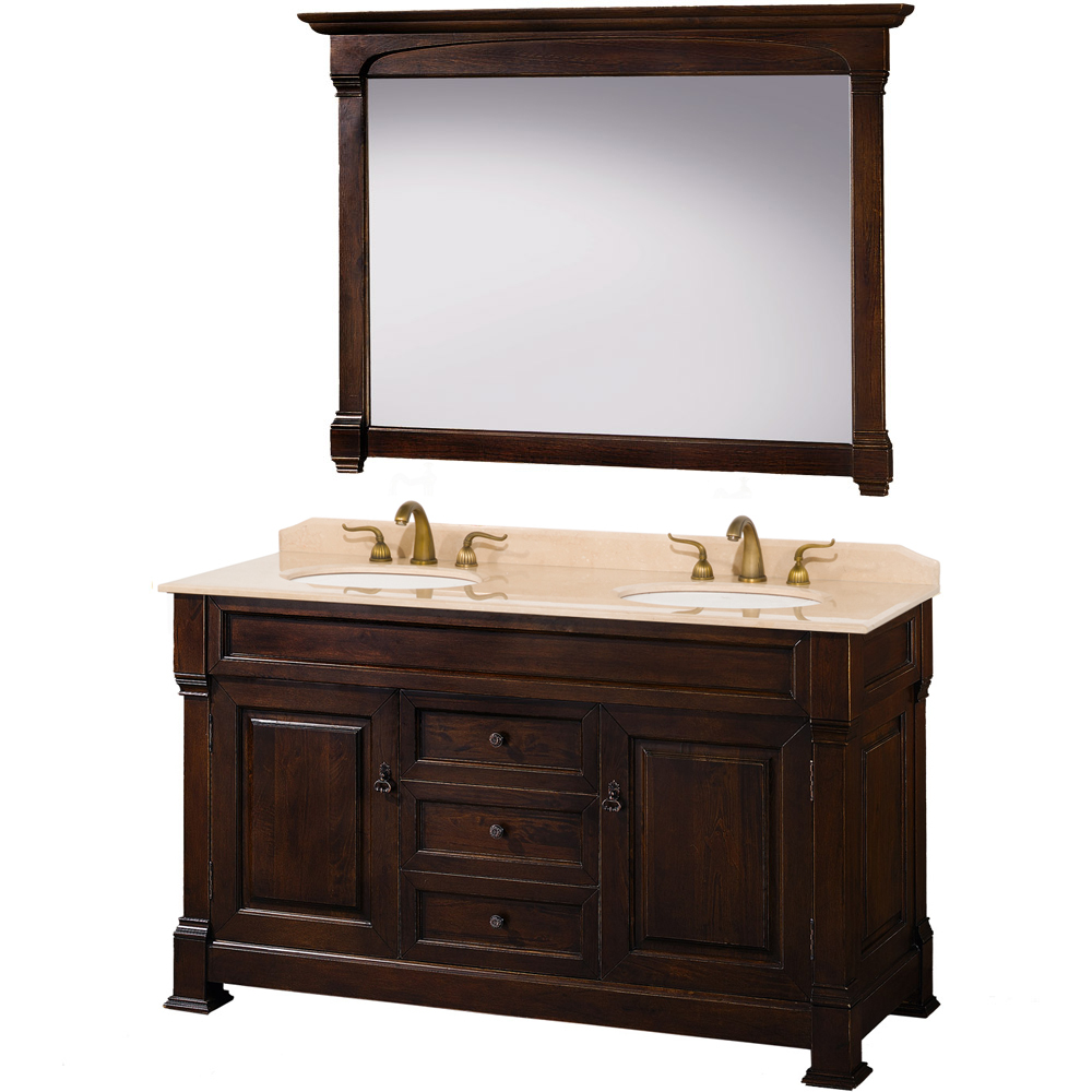 "Andover 60"" Double Bathroom Vanity in Dark Cherry, Undermount Oval Sinks, and 56"" Mirror with Countertop Options"