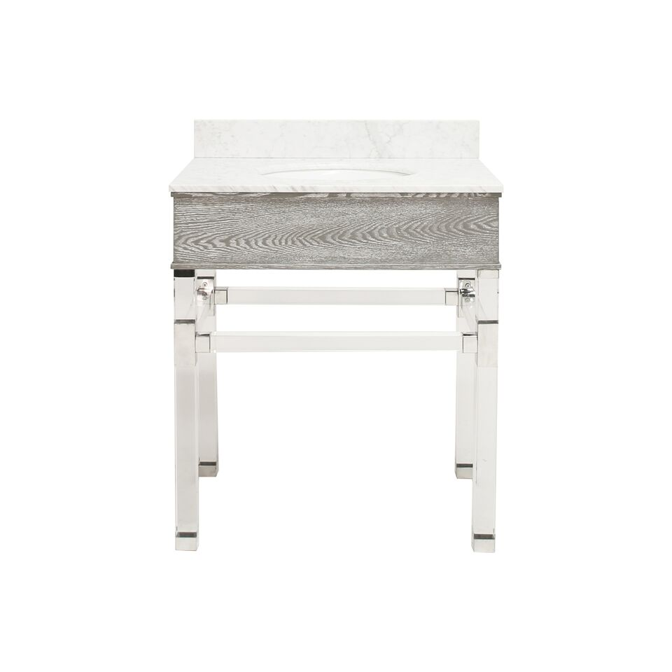 "30.5"" Isaac Edwards Collection Grey Cerused Oak Acrylic & Nickel Vanity with White Marble Top, Backsplash Option"