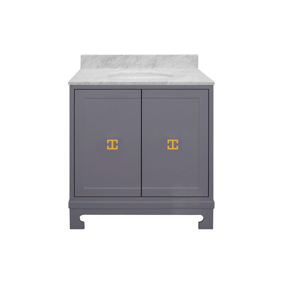 "30.5"" Isaac Edwards Collection Grey Lacquer Bath Vanity, White Carrara Marble Top with Hardware and Backsplash Option"