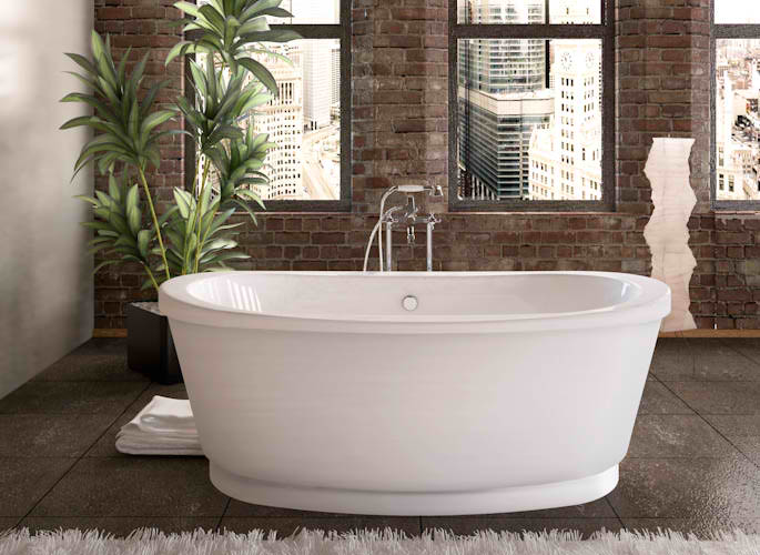 Whirlpools 36 x 66 Freestanding Tub with Center Drain