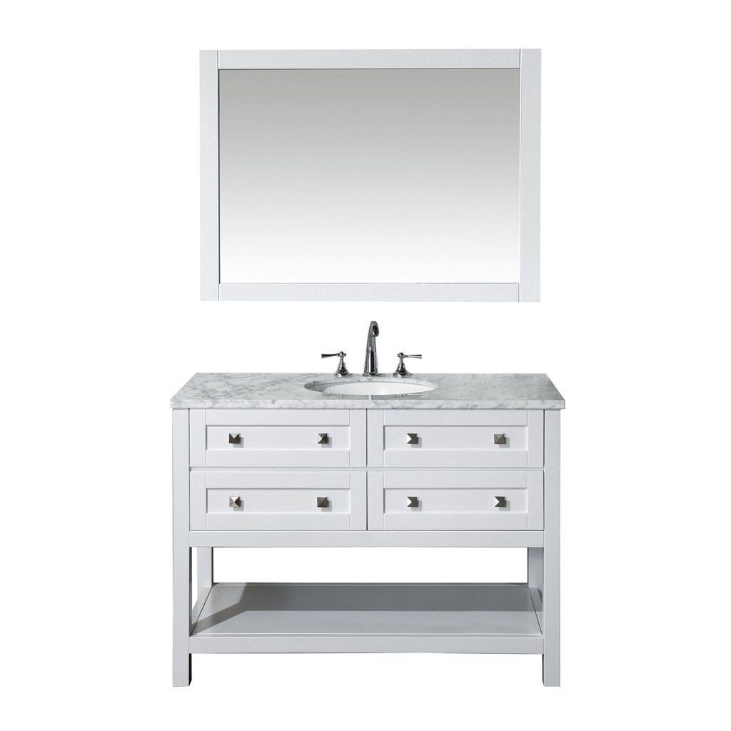 "Marla White 48"" Single Sink Bathroom Vanity with Mirror"