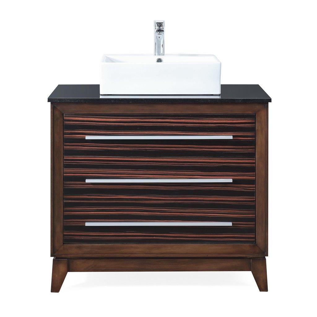 """Adelina 36"""" Vessel Sink Bathroom Vanity with Black Galaxy Granite Top"""