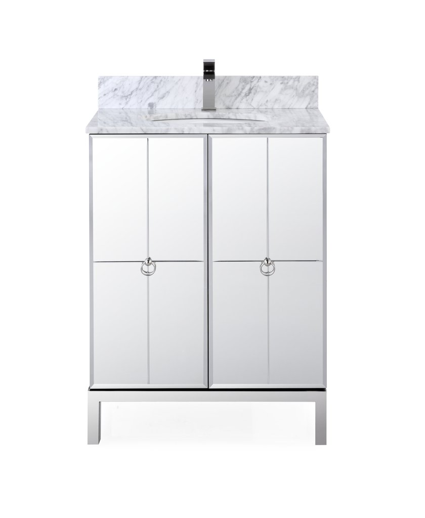 "Adelina 26"" Modern Mirrored French Bathroom Vanity"