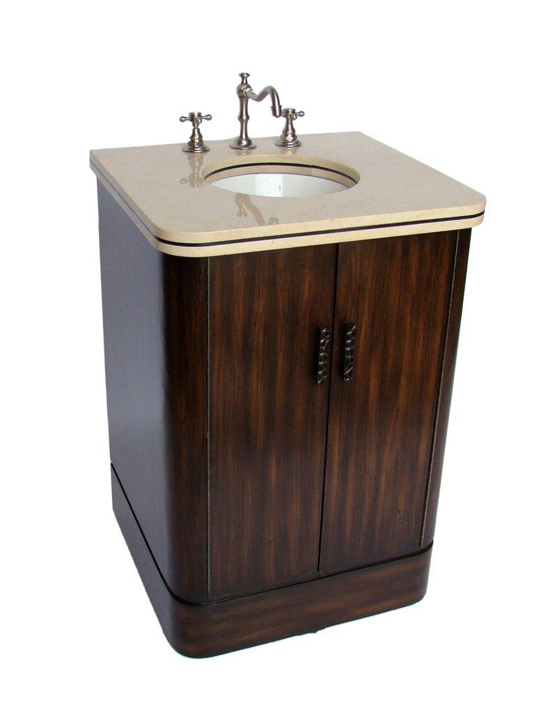 "Adelina 24"" Gotham Modern Bathroom Vanity with Cream Marble Counter Top"