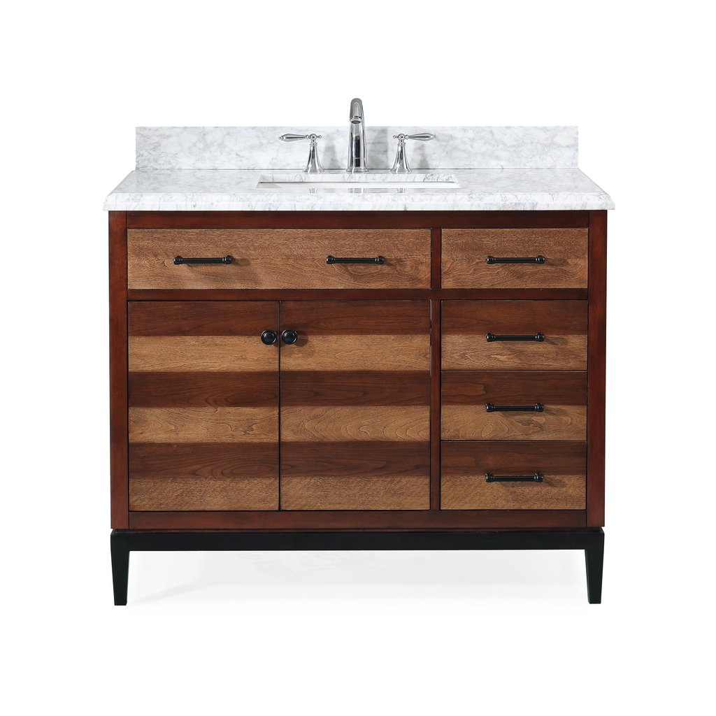 "Adelina 42"" Urban Modern Eclectic Selva Sink Bathroom Vanity with Metal Base"