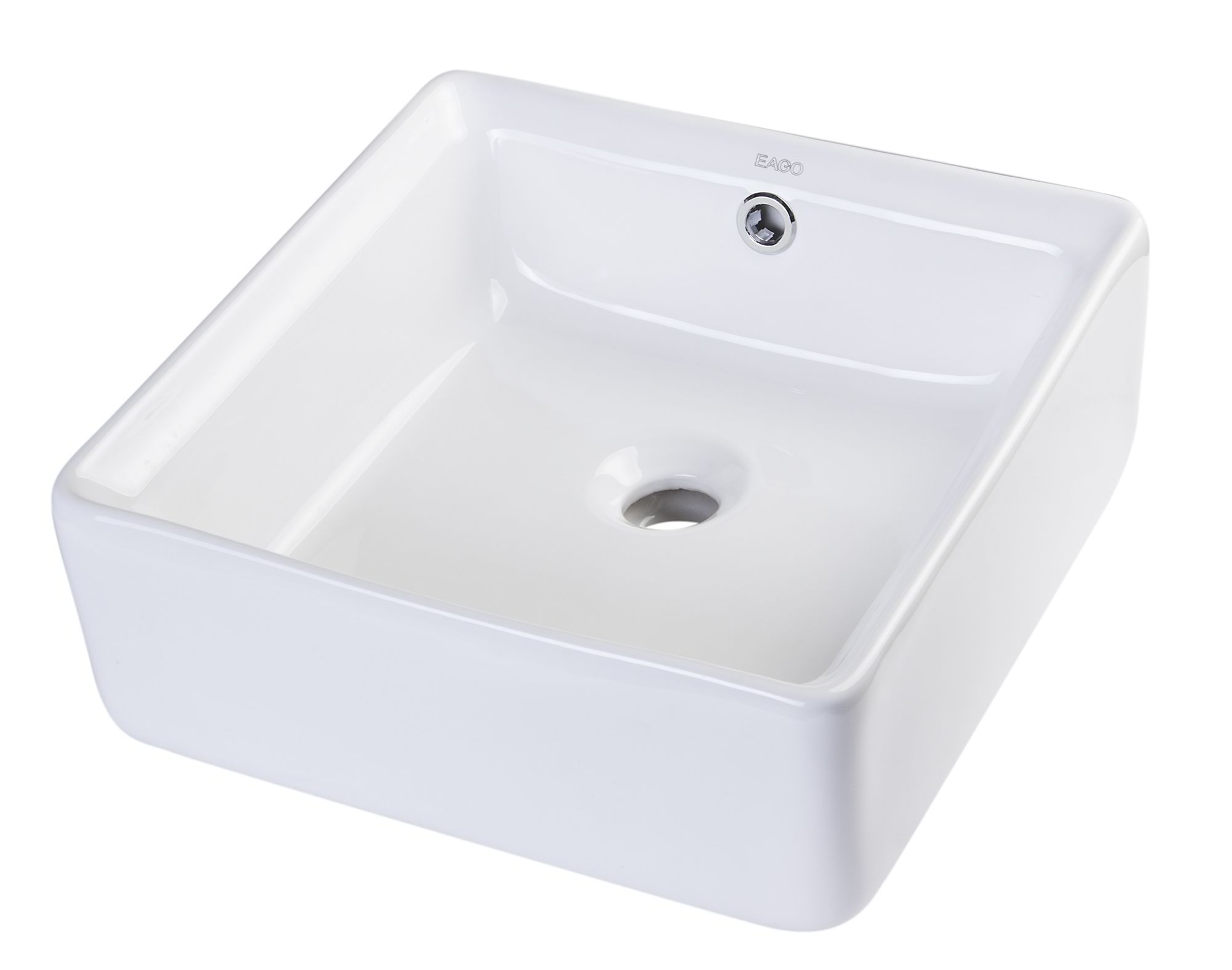 "EAGO BA130 15"" SQUARE CERAMIC ABOVE MOUNT BATHROOM BASIN VESSEL SINK"