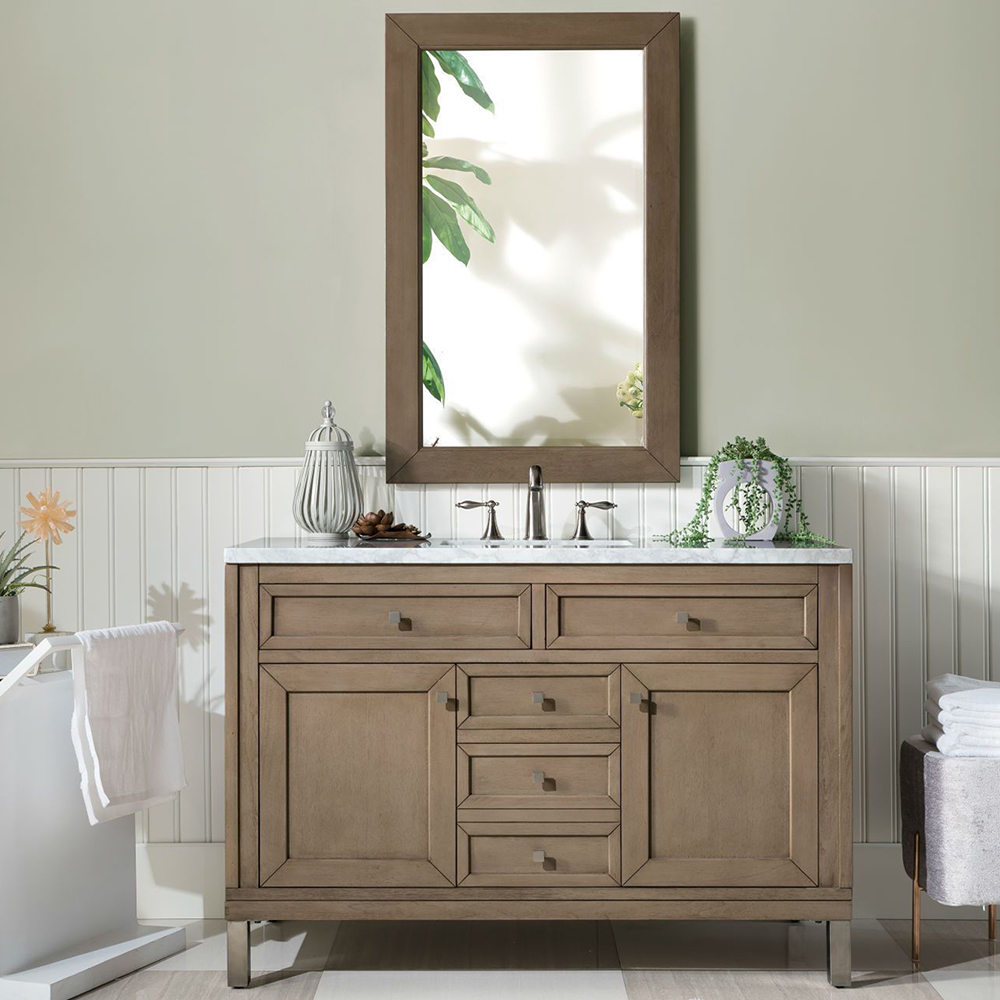 "Chicago 48"" White Washed Walnut Single Vanity with Top Options"