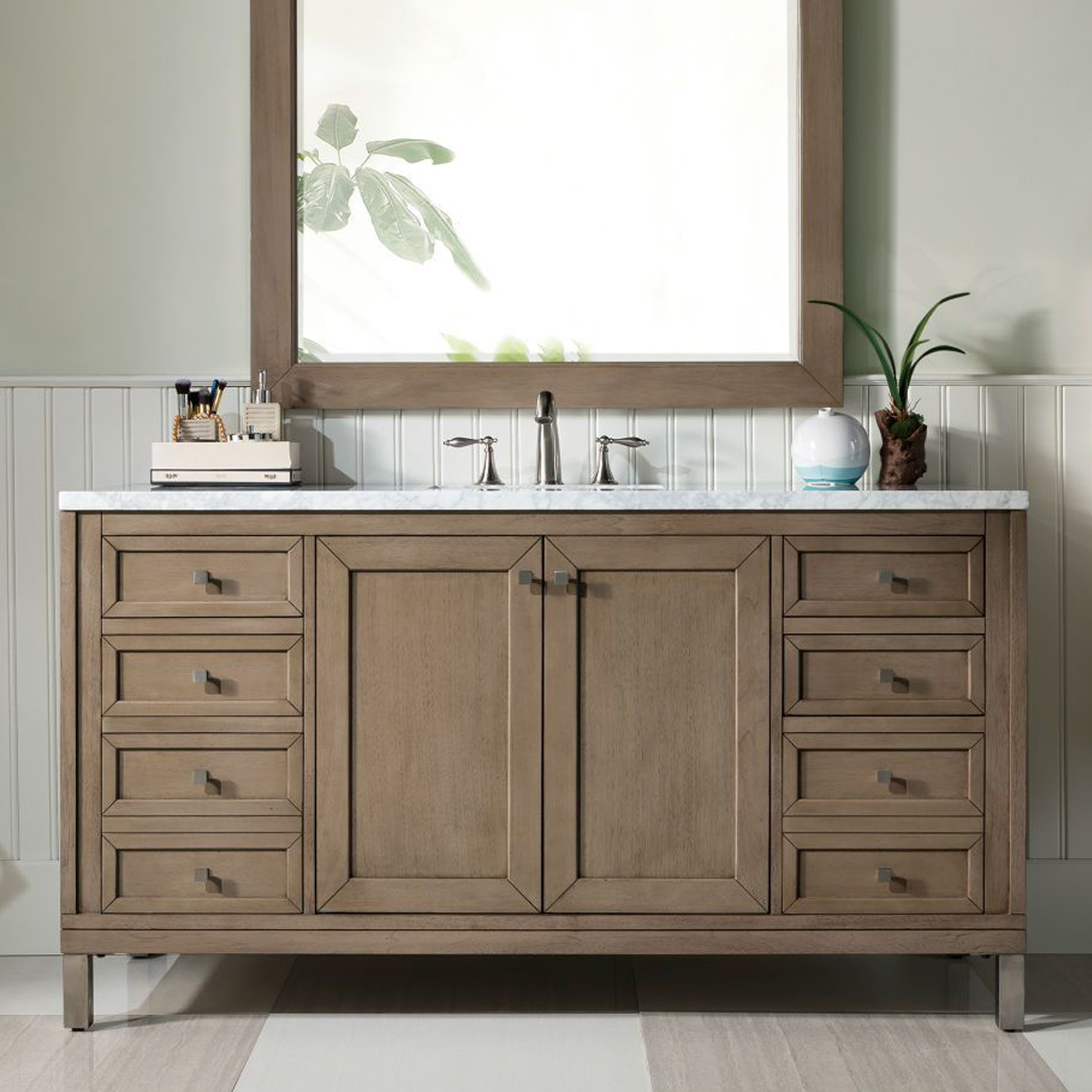"Chicago 60"" White Washed Walnut Single Vanity with Top Options"