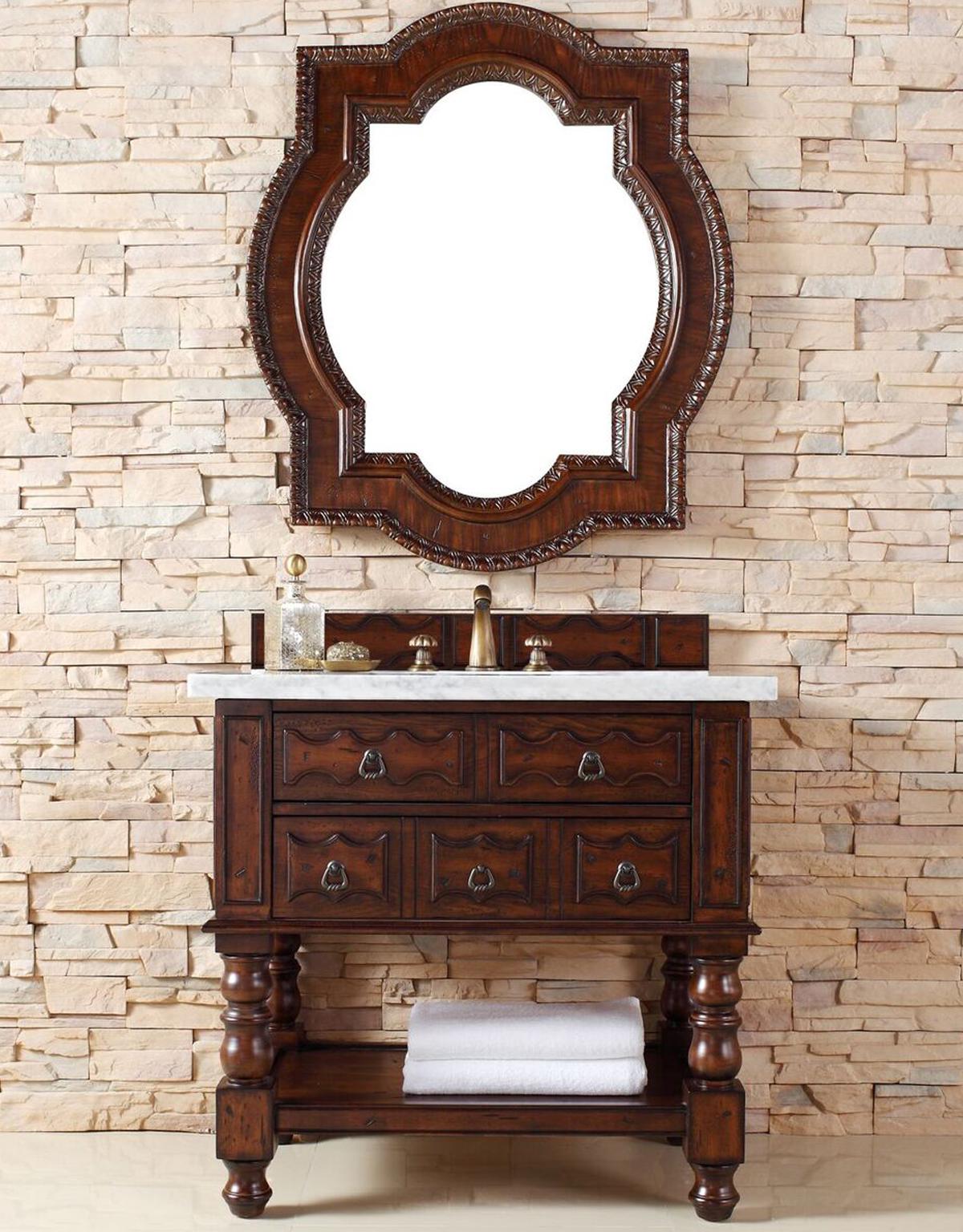 "James Martin Castilian Collection 36"" Single Vanity Cabinet, Aged Cognac Finish"