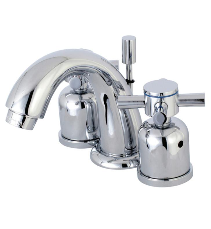 "Concord 4"" Double Metal Cross Handle Mini - Widespread Bathroom Sink Faucet with Pop-Up Drain"