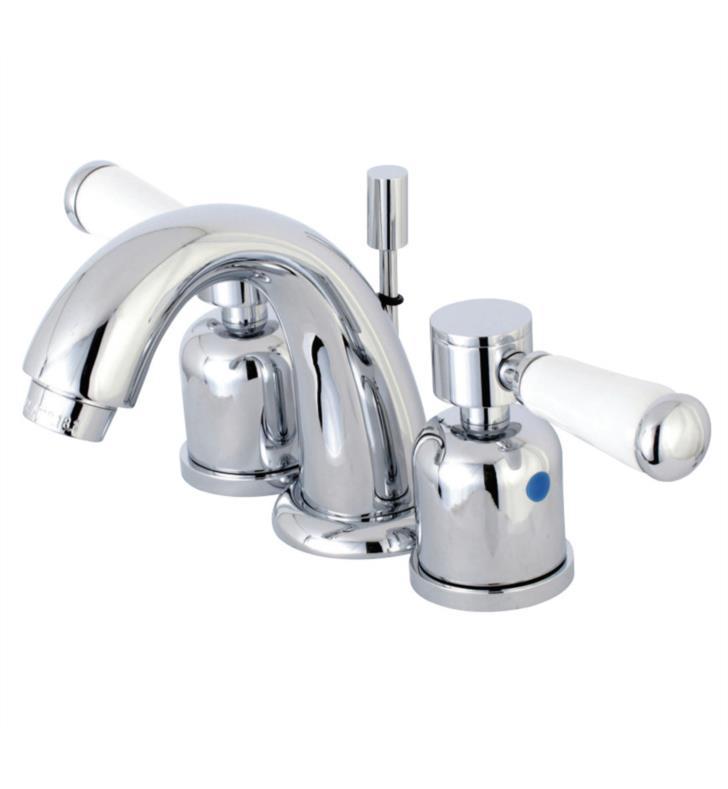"""Paris 4"""" Double Porcelain Lever Handle Mini - Widespread Bathroom Sink Faucet with Pop-Up Drain"""