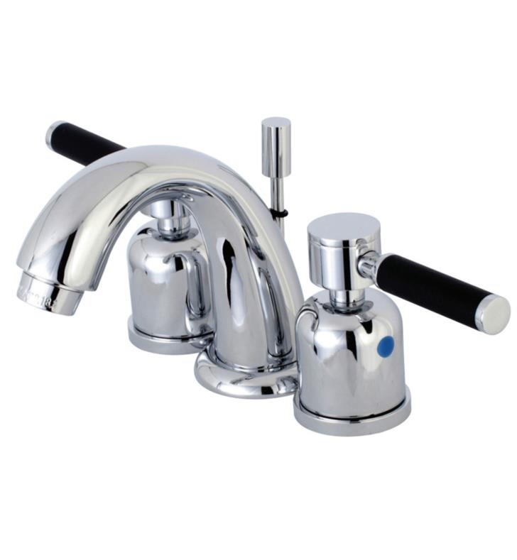 "Kaiser 4"" Double Porcelain Rubber - Coated Lever Handle Mini - Widespread Bathroom Sink Faucet with Pop-Up Drain"