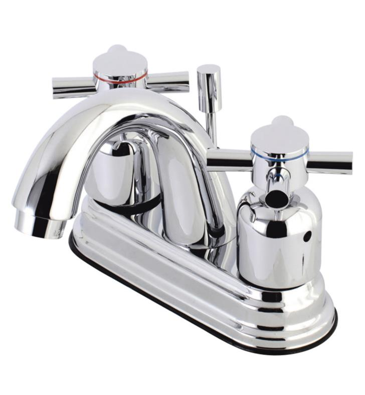 "Concord 5"" Double Metal Cross Handle Centerset Bathroom Sink Faucet with Pop-Up Drain"