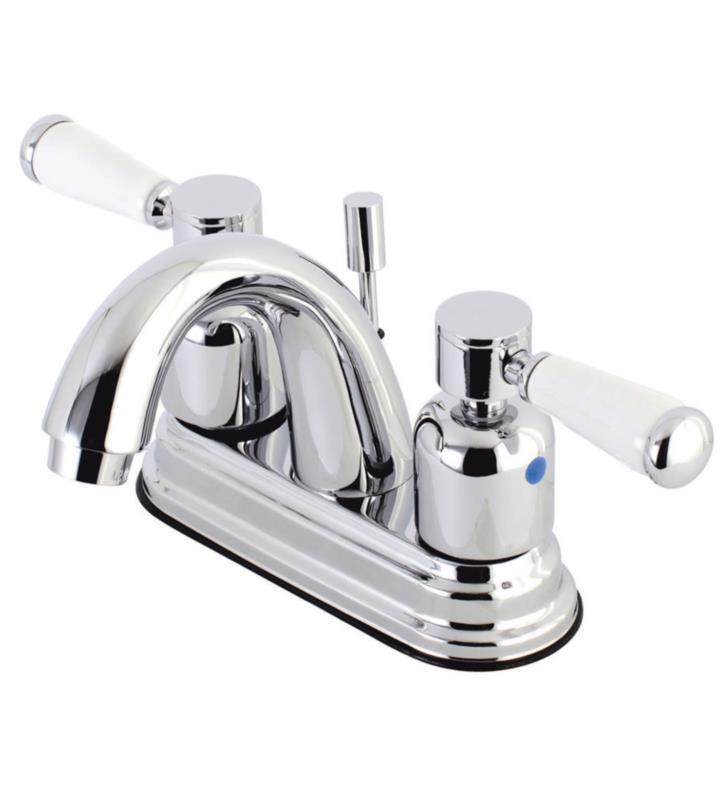 """Paris 5"""" Double Porcelain Lever Handle Centerset Bathroom Sink Faucet with Pop-Up Drain"""