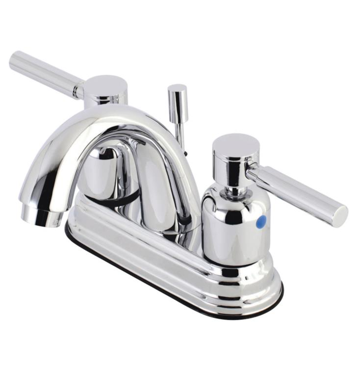 "Concord 5"" Double Metal Lever Handle Centerset Bathroom Sink Faucet with Pop-Up Drain"