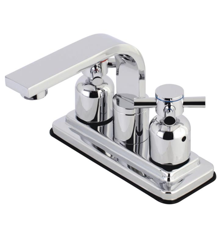 "Concord 5 3/4"" Double Metal Cross Handle Centerset Bathroom Sink Faucet with Pop-Up Drain"