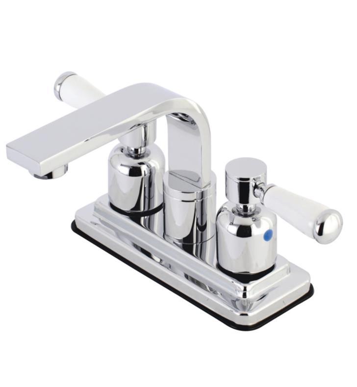 """Paris 5 3/4"""" Double Porcelain Lever Handle Centerset Bathroom Sink Faucet with Pop-Up Drain"""
