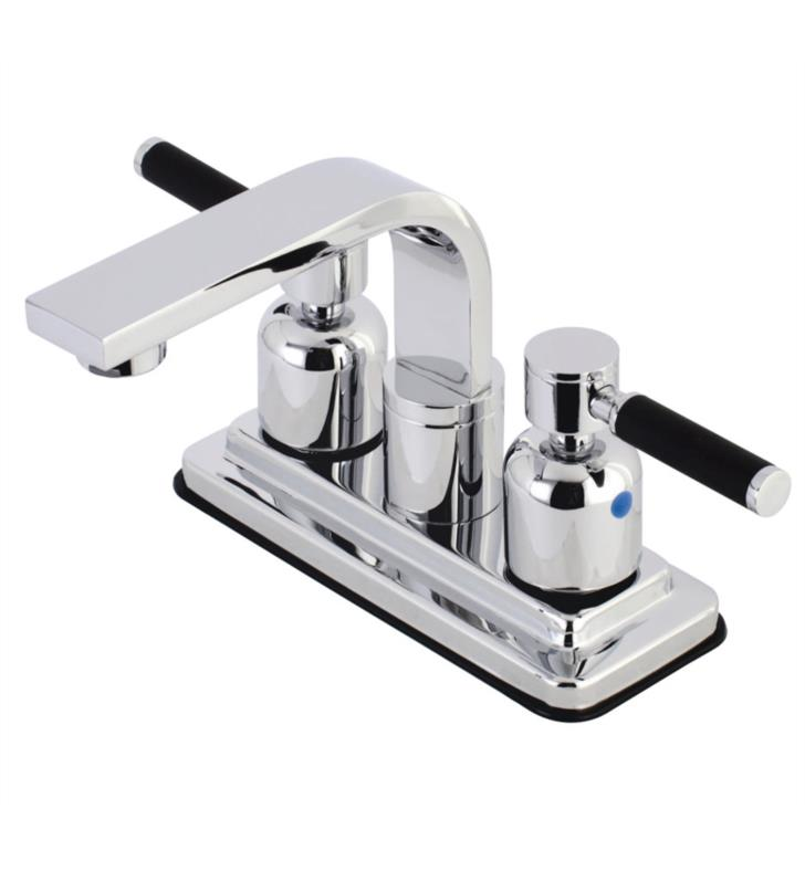"Kaiser 5 3/4"" Double Porcelain Rubber - Coated Lever Handle Centerset Bathroom Sink Faucet with Pop-Up Drain"