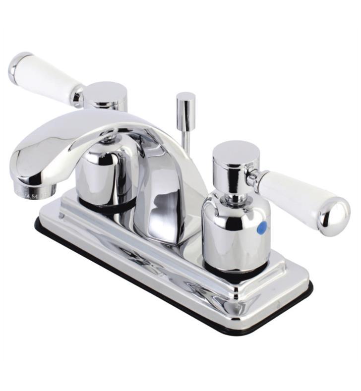 """5"""" Double Porcelain Lever Handle Centerset Bathroom Sink Faucet with Pop-Up Drain"""