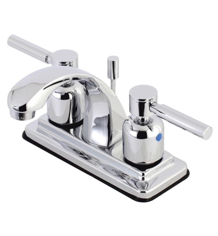 "5"" Double Metal Lever Handle Centerset Bathroom Sink Faucet with Pop-Up Drain"