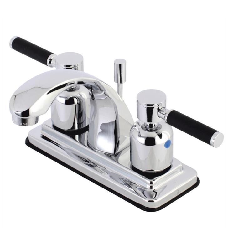 """Kaiser 5"""" Double Porcelain Rubber - Coated Lever Handle Centerset Bathroom Sink Faucet w/ Pop-Up Drain"""