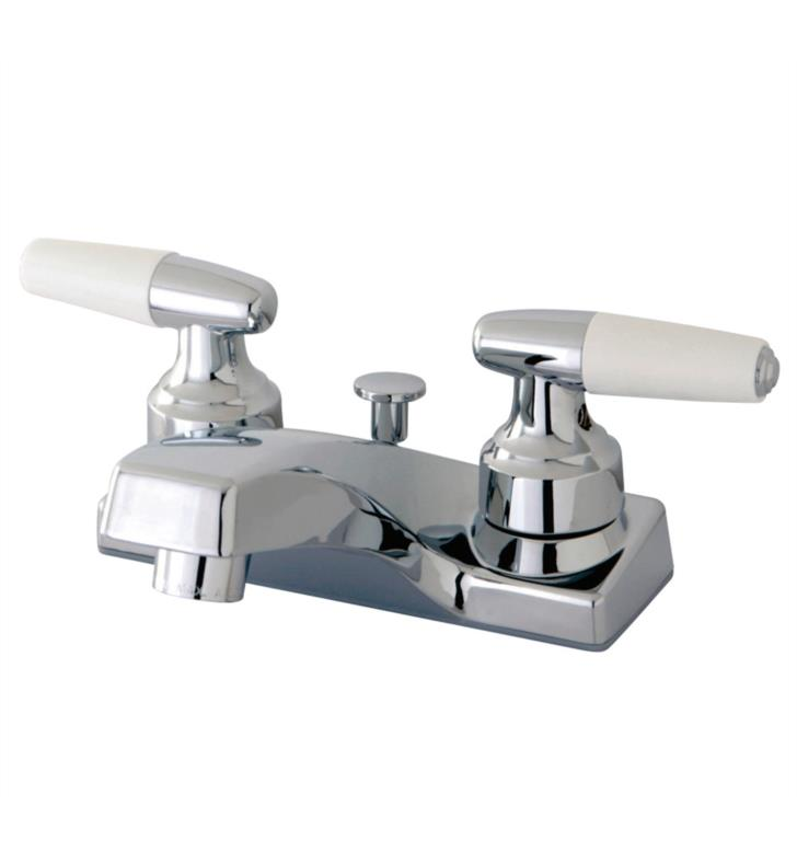 """2 3/4"""" Double Porcelain Lever Handle Centerset Bathroom Sink Faucet with Pop-Up Drain in Polished Chrome"""