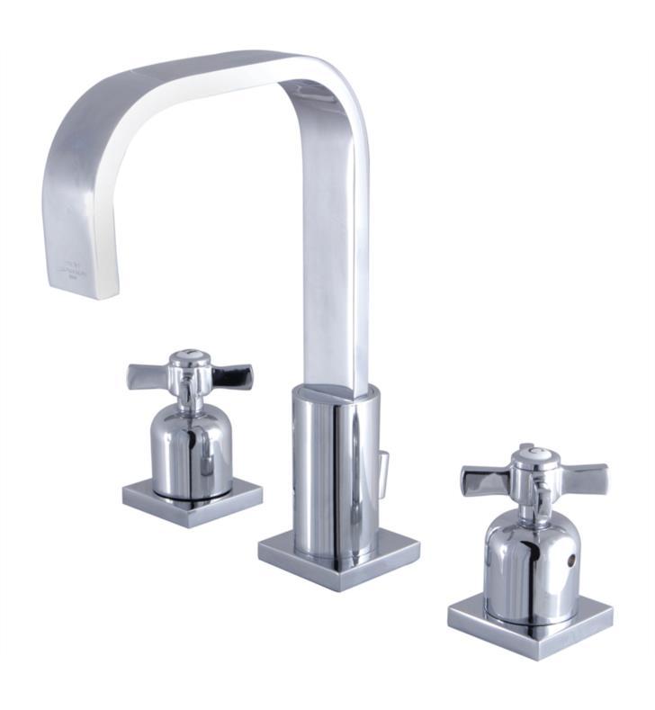 "Millennium 9"" Double Metal Cross Handle Widespread Bathroom Sink Faucet with Pop-Up Drain"