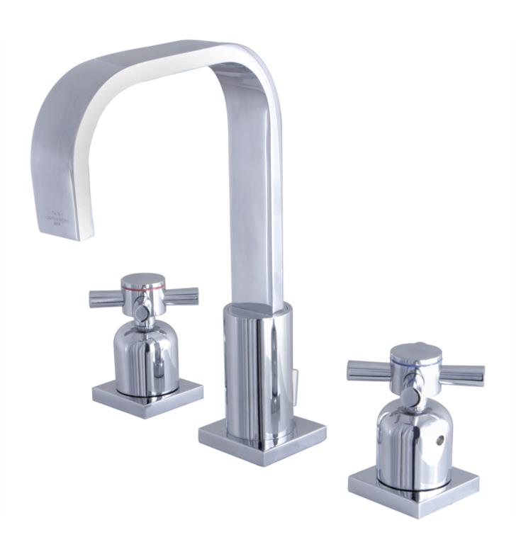 "Concord 9"" Double Metal Cross Handle Widespread Bathroom Sink Faucet with Pop-Up Drain"