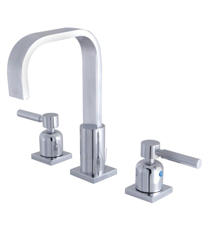 "Concord 9"" Double Metal Lever Handle Widespread Bathroom Sink Faucet with Pop-Up Drain"
