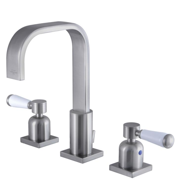 "Paris 9"" Double Porcelain Lever Handle Widespread Bathroom Sink Faucet with Pop-Up Drain in Brushed Nickel"